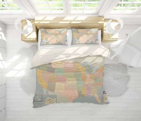 3D Vintage, World map Bedding Set Quilt Cover Quilt Duvet Cover ,Pillowcases Personalized  Bedding,Queen, King ,Full, Double 3 Pcs
