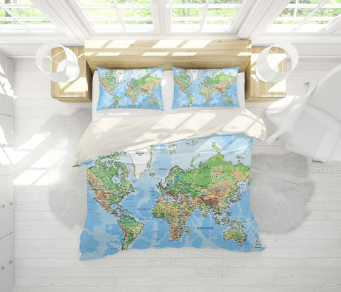 3D Detail, World map Bedding Set Quilt Cover Quilt Duvet Cover ,Pillowcases Personalized  Bedding,Queen, King ,Full, Double 3 Pcs