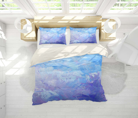 3D Gradient blue, Oil painting Bedding Set Quilt Cover Quilt Duvet Cover ,Pillowcases Personalized  Bedding,Queen, King ,Full, Double 3 Pcs