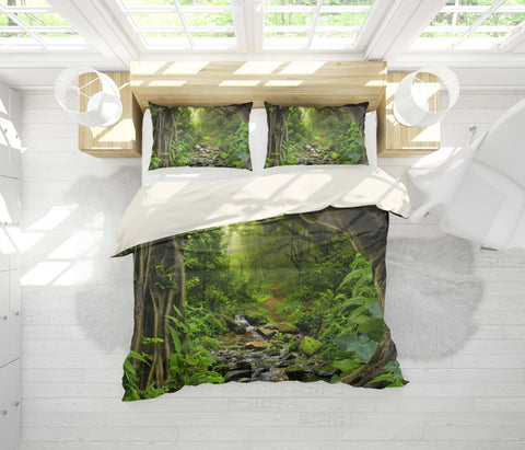 3D Mysterious, Jungle scenery Set Quilt Cover Quilt Duvet Cover ,Pillowcases Personalized  Bedding,Queen, King ,Full, Double 3 Pcs