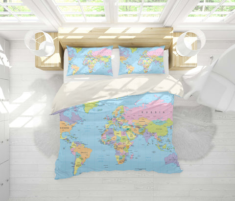 3D Details  World map   Quilt Cover Set Bedding Set Pillowcases
