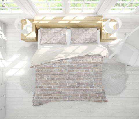 3D White brick Bedding Set Quilt Cover Quilt Duvet Cover ,Pillowcases Personalized  Bedding,Queen, King ,Full, Double 3 Pcs