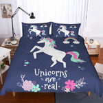 3D Cartoon  Blue  Unicorn Bedding Set Quilt Cover Quilt Duvet Cover Pillowcases Personalized  Bedding Queen  King  Full  Double 3 Pcs