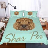 3D Dog  SharPei  Quilt Cover Set Bedding Set Pillowcases
