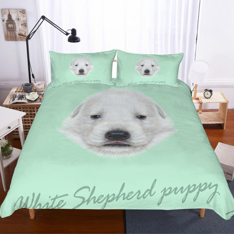 3D White  Pyrenean Mountain Dog Bedding Set Quilt Cover Quilt Duvet Cover Pillowcases Personalized  Bedding Queen  King  Full  Double 3 Pcs