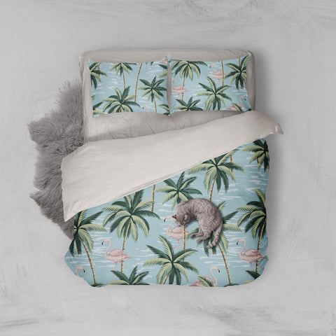 3D Tropical coconut tree Bedding Set Quilt Cover Quilt Duvet Cover ,Pillowcases Personalized  Bedding,Queen, King ,Full, Double 3 Pcs
