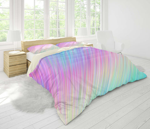 3D Color stripe Bedding Set Quilt Cover Quilt Duvet Cover ,Pillowcases Personalized  Bedding,Queen, King ,Full, Double 3 Pcs