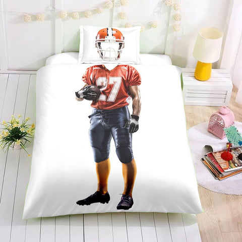 3D Rugby player  Quilt Cover Set Bedding Set Pillowcases