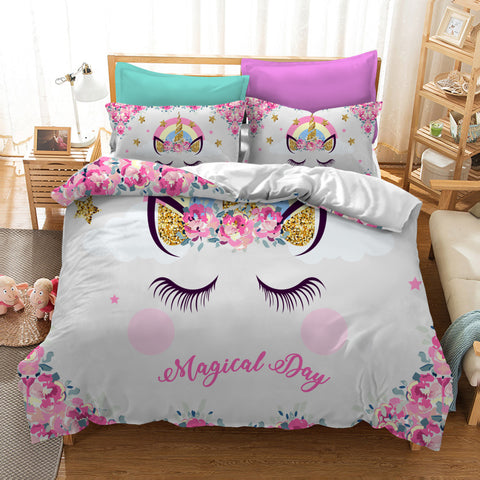 3D Cartoon  The unicorn  Quilt Cover Set Bedding Set Pillowcases