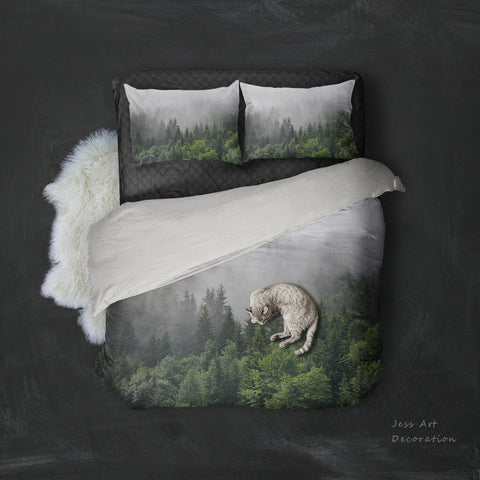 3D Dense fog  Pine forest  Quilt Cover Set Bedding Set Pillowcases