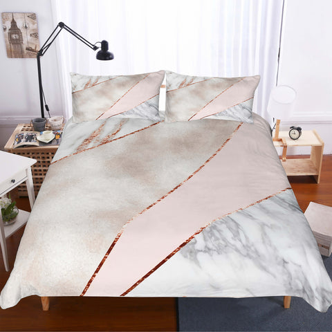 3D Minimalist style  Marble texture Set Quilt Cover Quilt Duvet Cover  Pillowcases Personalized  Bedding Queen  King  Full  Double 3 Pcs