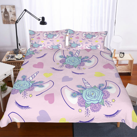 3D Cartoon  Pink unicorn  Quilt Cover Set Bedding Set Pillowcases