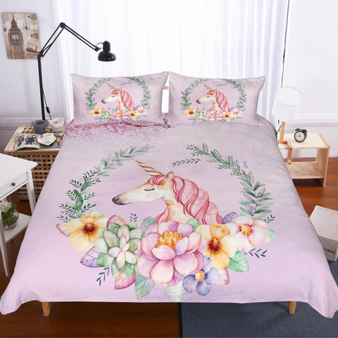 3D Cartoon  Purple  Unicorn  Quilt Cover Set Bedding Set Pillowcases