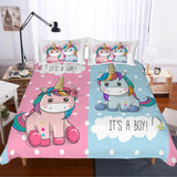 3D Cartoon Pink and blue Unicorn Bedding Set Quilt Cover Quilt Duvet Cover Pillowcases Personalized  Bedding Queen  King  Full  Double 3 Pcs