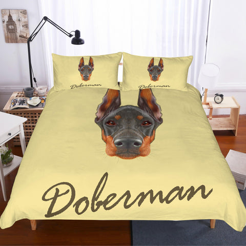3D Cartoon  Dobermann  Quilt Cover Set Bedding Set Pillowcases