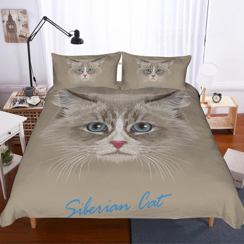 3D Long-haired cat  Quilt Cover Set Bedding Set Pillowcases