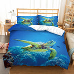 3D Sea world  Sea turtle Bedding Set Quilt Cover Quilt Duvet Cover Pillowcases Personalized  Bedding Queen  King  Full  Double 3 Pcs
