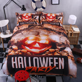 3D Halloween Pumkin  Skull Duvet Cover Bedding Set Quilt Cover Pillowcases Personalized  Bedding Queen  King  Full  Double 3 Pcs
