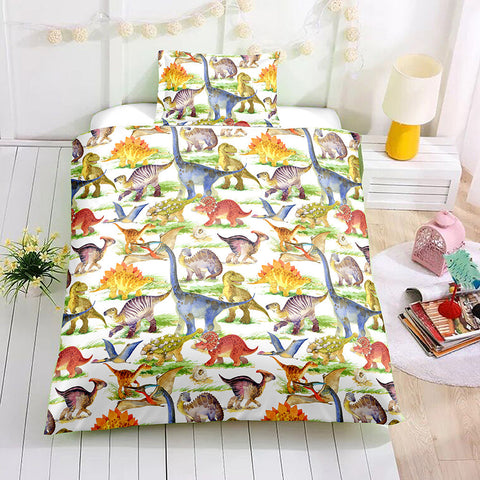 3D Dinosaur Kids Pattern Duvet Cover Bedding Set Quilt Cover Pillowcases Personalized  Bedding Queen  King  Full  Double 3 Pcs