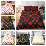 3D White Kiss   Quilt Cover Set Bedding Set Pillowcases