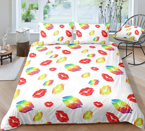 3D White Colorful Kiss   Quilt Cover Set Bedding Set Pillowcases