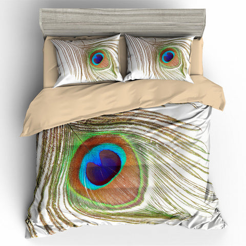 3D Peacock Feather   Quilt Cover Set Bedding Set Pillowcases