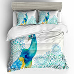 3D Blue Peacock White  Quilt Cover Set Bedding Set Pillowcases