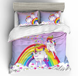3D Kids Purple Rainbow Unicorn  Quilt Cover Set Bedding Set Pillowcases