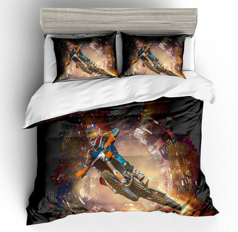 3D Black Motor Motorcycle  Quilt Cover Set Bedding Set Pillowcases