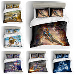 3D Blue Motor Motorcycle  Quilt Cover Set Bedding Set Pillowcases