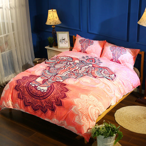 3D Pink Bohemian Mandalas Colorful Elephant Bedding Set Quilt Duvet Cover ,Pillowcases Personalized  Bedding,Queen, King ,Full, Double 3 Pcs