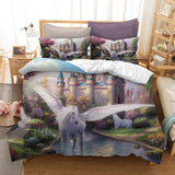 3D Cartoon Kids Castle Unicorn Bedding Set Quilt Cover Quilt Duvet Cover ,Pillowcases Personalized  Bedding,Queen, King ,Full, Double 3 Pcs