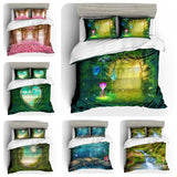 3D Green Flower Secret Forest Bedding Set Quilt Cover Quilt Duvet Cover ,Pillowcases Personalized  Bedding,Queen, King ,Full, Double 3 Pcs