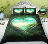 3D Green Love Heart Secret Forest Bedding Set Quilt Duvet Cover ,Pillowcases Personalized  Bedding,Queen, King ,Full, Double 3 Pcs
