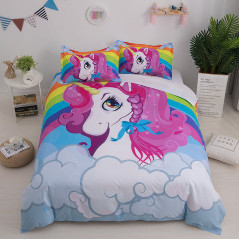 3D Cartoon  Unicorn  Quilt Cover Set Bedding Set Pillowcases
