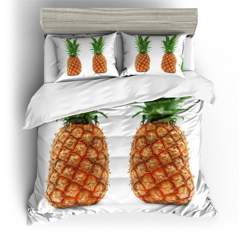 3D White Double Pineapple  Bedding Set Quilt Cover Quilt Duvet Cover ,Pillowcases Personalized  Bedding,Queen, King ,Full, Double 3 Pcs