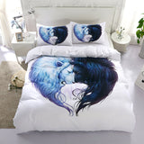 3D White Double Lion Bedding Set Quilt Cover Quilt Duvet Cover ,Pillowcases Personalized  Bedding,Queen, King ,Full, Double 3 Pcs
