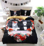 3D Black Eternal Love Flower Skull Bedding Set  Quilt Duvet Cover ,Pillowcases Personalized  Bedding,Queen, King ,Full, Double 3 Pcs