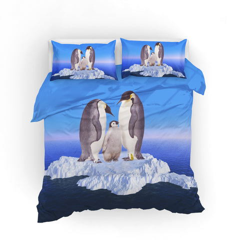 3D Penguin Iceburg Blue Bedding Set Quilt Cover Quilt Duvet Cover ,Pillowcases Personalized  Bedding,Queen, King ,Full, Double 3 Pcs