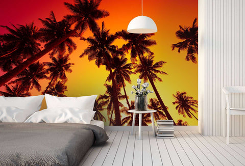 3D Dusk, Coconut grove scenery Wallpaper