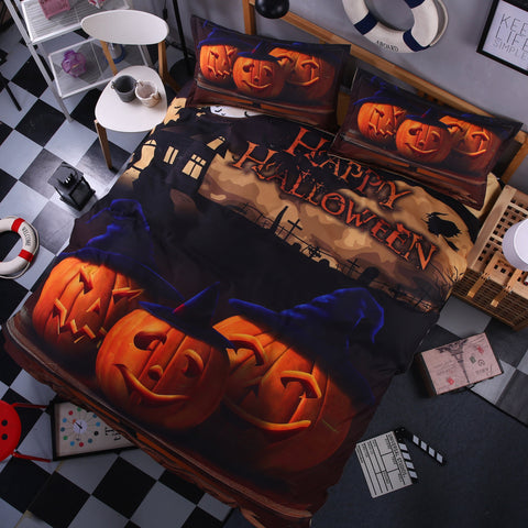 3D Halloween Pumpkin Duvet Cover Bedding Set Quilt Cover Pillowcases Personalized  Bedding Queen  King  Full  Double 3 Pcs