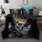 3D Black Crown Skull Kiss  Quilt Cover Set Bedding Set Pillowcases