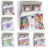 3D Cartoon Kids Rainbow Unicorn  Quilt Cover Set Bedding Set Pillowcases