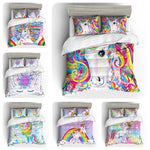 3D Cartoon Kids Rainbow Unicorn Star Bedding Set Quilt Duvet Cover  Pillowcases Personalized  Bedding Queen  King  Full  Double 3 Pcs