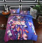 3D Purple Dreamcatcher Feather   Quilt Cover Set Bedding Set Pillowcases