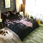 3D Black National Elk Wapiti Bedding Set Quilt Cover Quilt Duvet Cover ,Pillowcases Personalized  Bedding,Queen, King ,Full, Double 3 Pcs