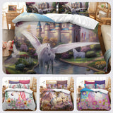3D Cartoon Kids Flower Unicorn Bedding Set Quilt Cover Quilt Duvet Cover ,Pillowcases Personalized  Bedding,Queen, King ,Full, Double 3 Pcs