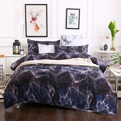 3D Black Marble Bedding Set Quilt Cover Quilt Duvet Cover ,Pillowcases Personalized  Bedding,Queen, King ,Full, Double 3 Pcs