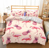 3D Pink Flamingo Pineapple Bedding Set Quilt Cover Quilt Duvet Cover ,Pillowcases Personalized  Bedding,Queen, King ,Full, Double 3 Pcs