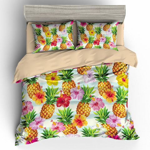 3D Colorful Flower Pineapple  Bedding Set Quilt Cover Quilt Duvet Cover ,Pillowcases Personalized  Bedding,Queen, King ,Full, Double 3 Pcs